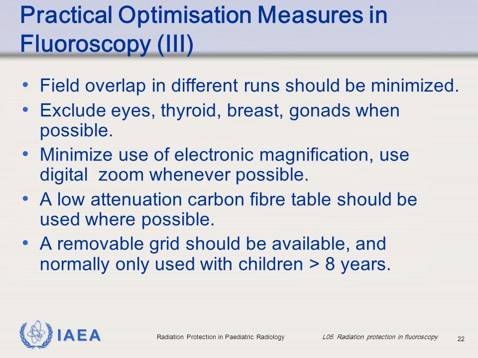 IAEA Radiation Protection in Paediatric Radiology L05. Radiation protection in fluoroscopy 22 Practical Optimisation Measures in Fluoroscopy (III) Fie