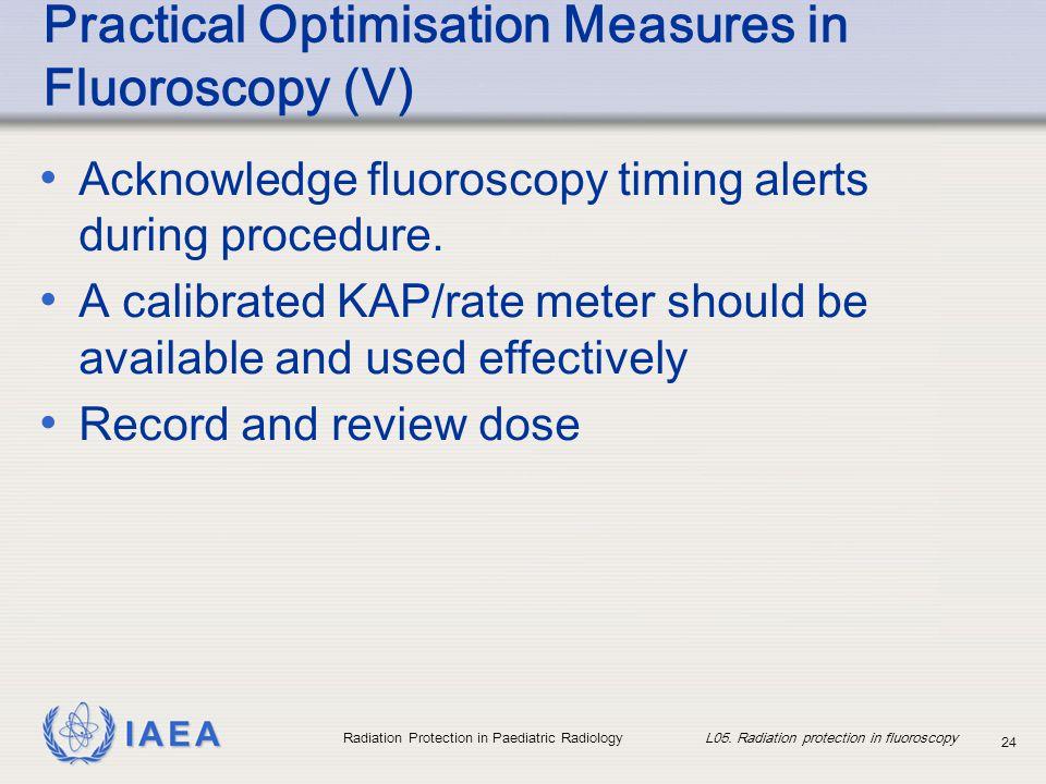 IAEA Radiation Protection in Paediatric Radiology L05. Radiation protection in fluoroscopy 24 Practical Optimisation Measures in Fluoroscopy (V) Ackno