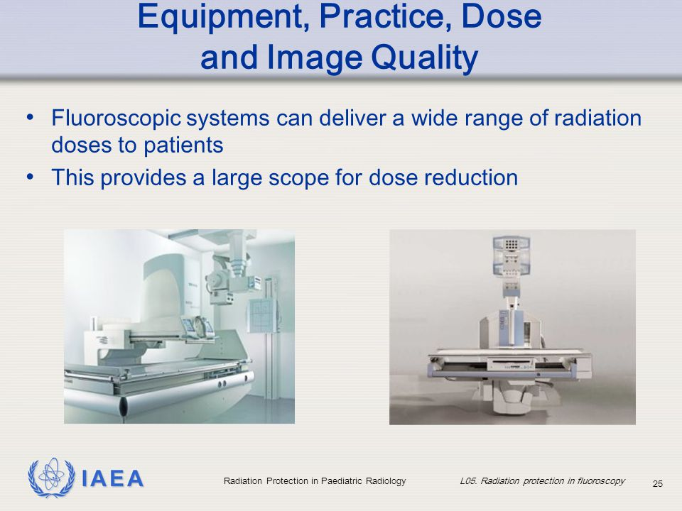 IAEA Radiation Protection in Paediatric Radiology L05. Radiation protection in fluoroscopy 25 Equipment, Practice, Dose and Image Quality Fluoroscopic
