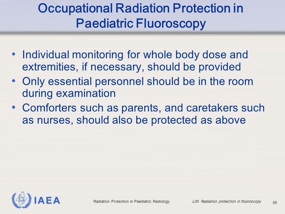 IAEA Radiation Protection in Paediatric Radiology L05. Radiation protection in fluoroscopy 55 Occupational Radiation Protection in Paediatric Fluorosc