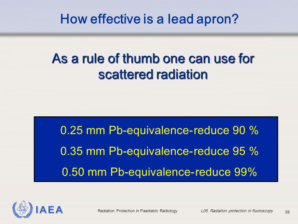 IAEA Radiation Protection in Paediatric Radiology L05. Radiation protection in fluoroscopy 58 How effective is a lead apron? 0.25 mm Pb-equivalence-re