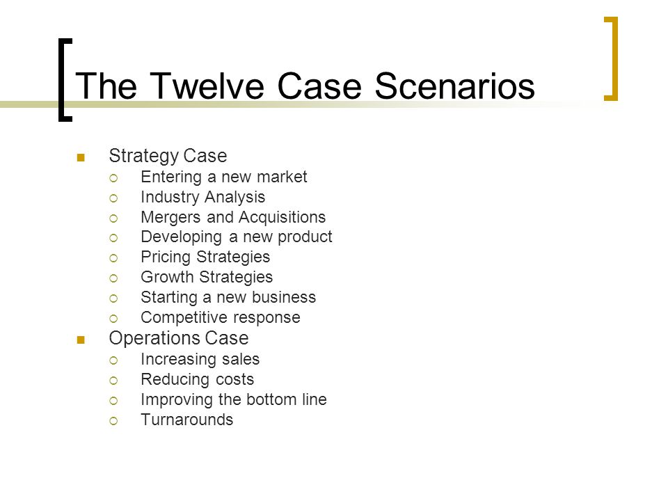 The Twelve Case Scenarios Strategy Case  Entering a new market  Industry Analysis  Mergers and Acquisitions  Developing a new product  Pricing Strategies  Growth Strategies  Starting a new business  Competitive response Operations Case  Increasing sales  Reducing costs  Improving the bottom line  Turnarounds