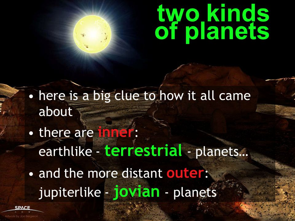 two kinds of planets here is a big clue to how it all came about there are inner : earthlike - terrestrial - planets… and the more distant outer : jup