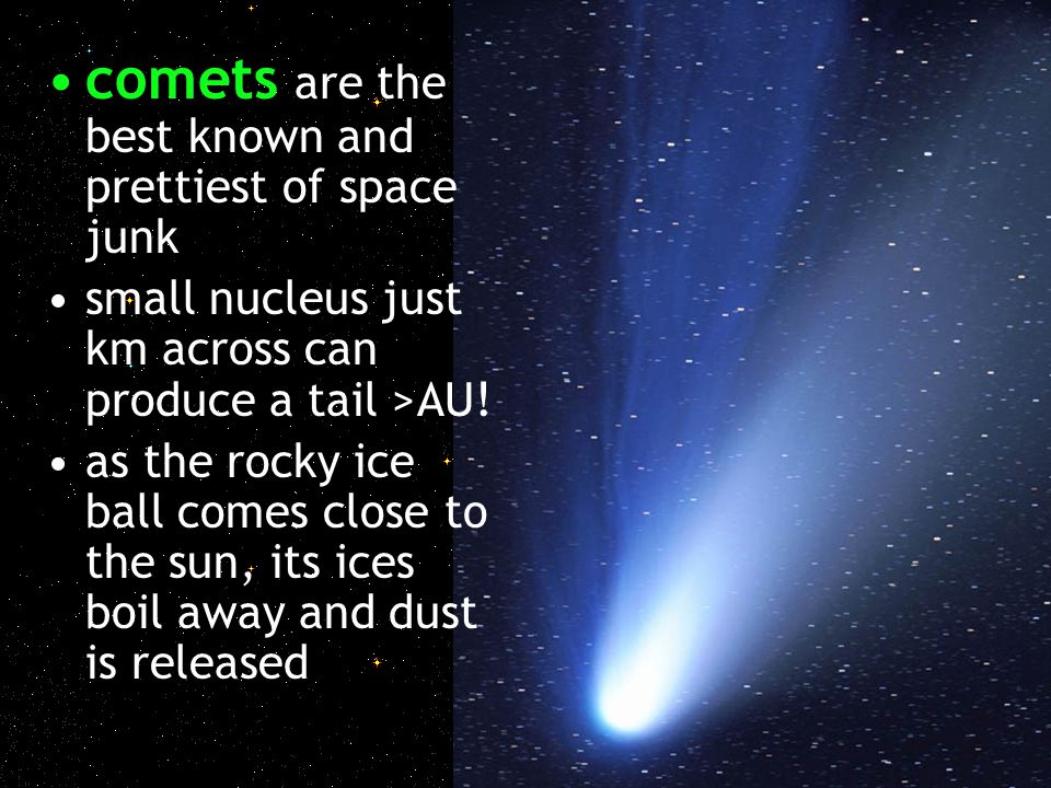 comets are the best known and prettiest of space junk small nucleus just km across can produce a tail >AU! as the rocky ice ball comes close to the su