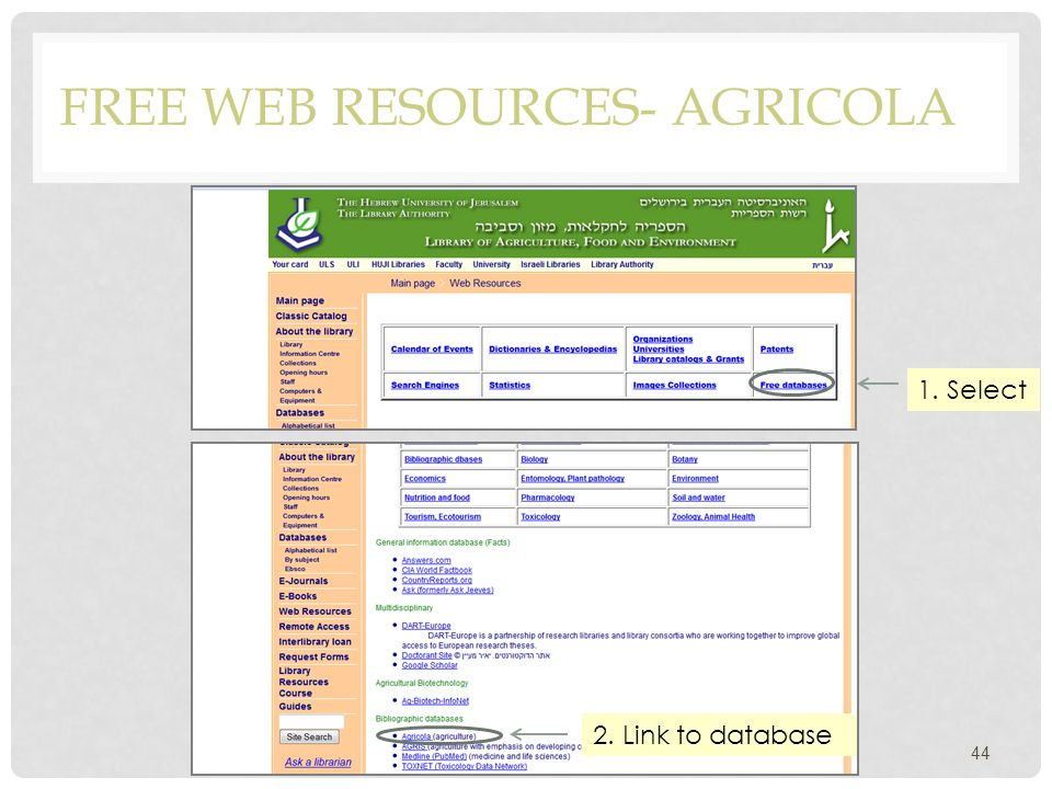 FREE WEB RESOURCES- AGRICOLA 44 1. Select 2. Link to database