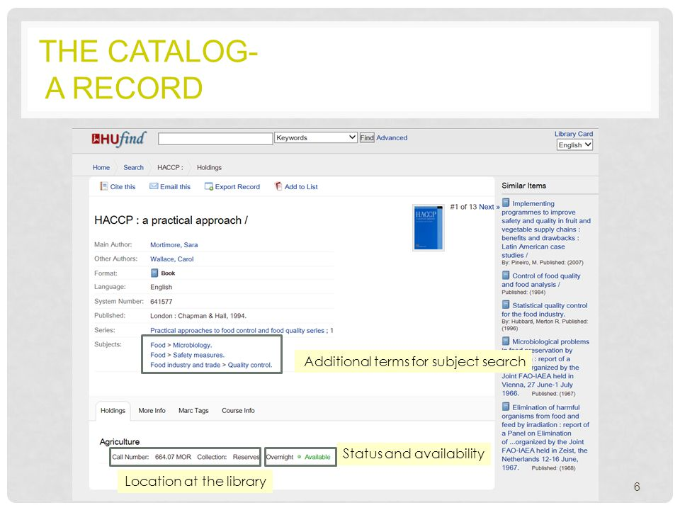 THE CATALOG- A RECORD 6 Additional terms for subject search Location at the library Status and availability