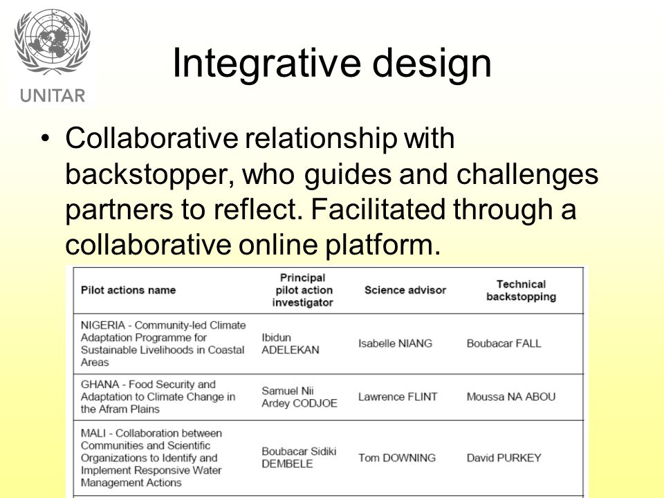 Integrative design Collaborative relationship with backstopper, who guides and challenges partners to reflect. Facilitated through a collaborative onl