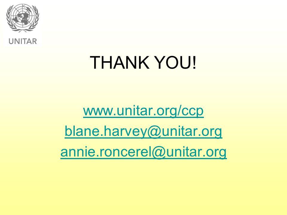 THANK YOU! www.unitar.org/ccp blane.harvey@unitar.org annie.roncerel@unitar.org