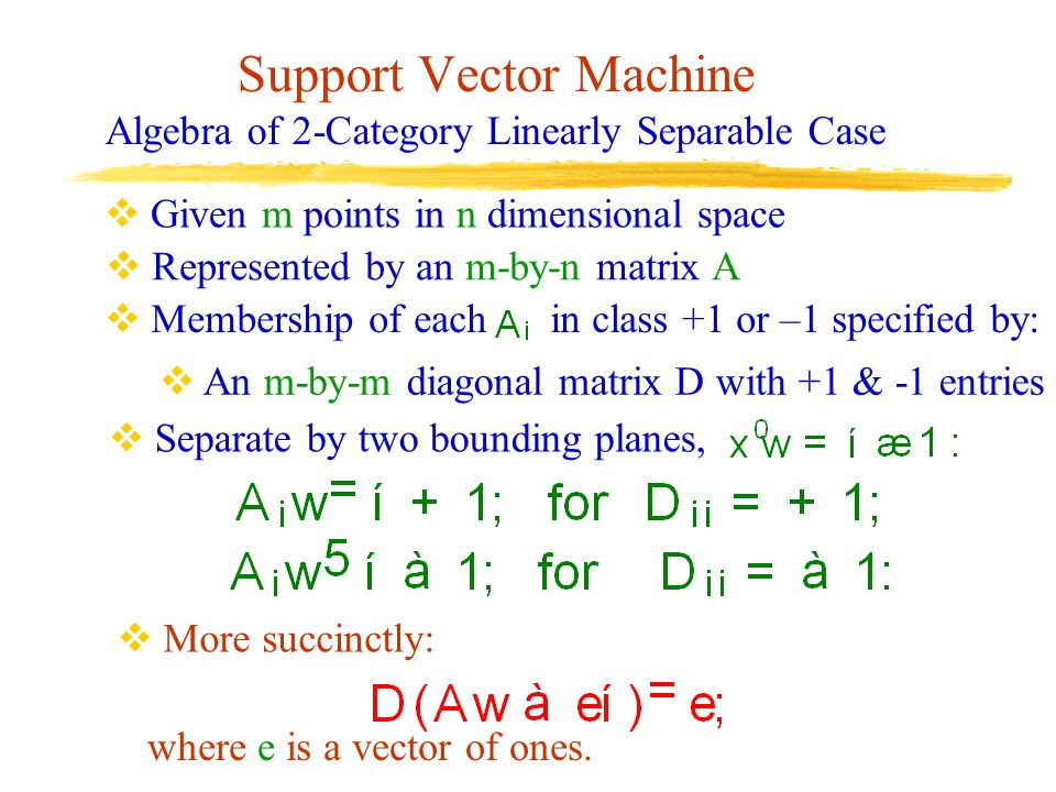 Support Vector Machine Algebra of 2-Category Linearly Separable Case  Given m points in n dimensional space  Represented by an m-by-n matrix A  Mem