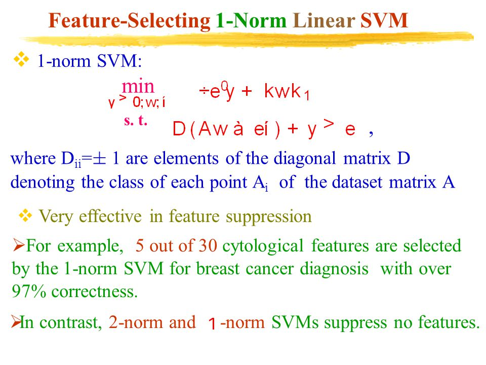 Feature-Selecting 1-Norm Linear SVM  Very effective in feature suppression  1-norm SVM: s. t. min, where D ii = § 1 are elements of the diagonal mat
