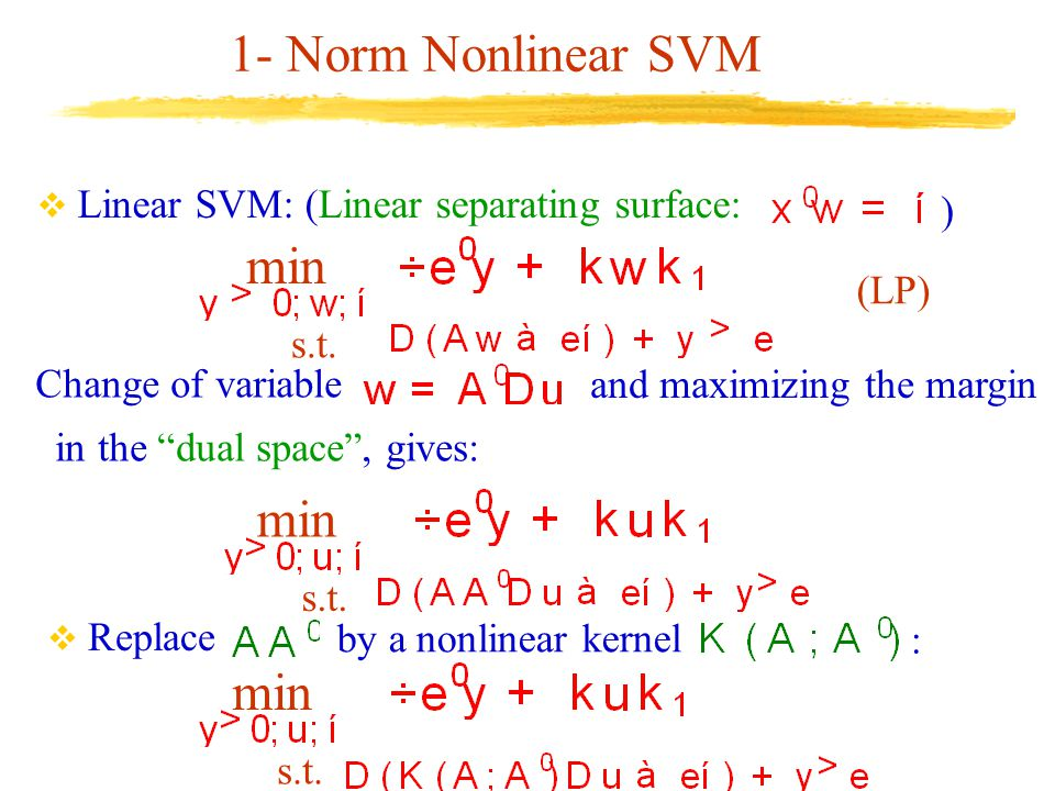 """1- Norm Nonlinear SVM  Linear SVM: (Linear separating surface: ) (LP) min s.t.  Replace by a nonlinear kernel : min s.t. in the """"dual space"""", gives:"""