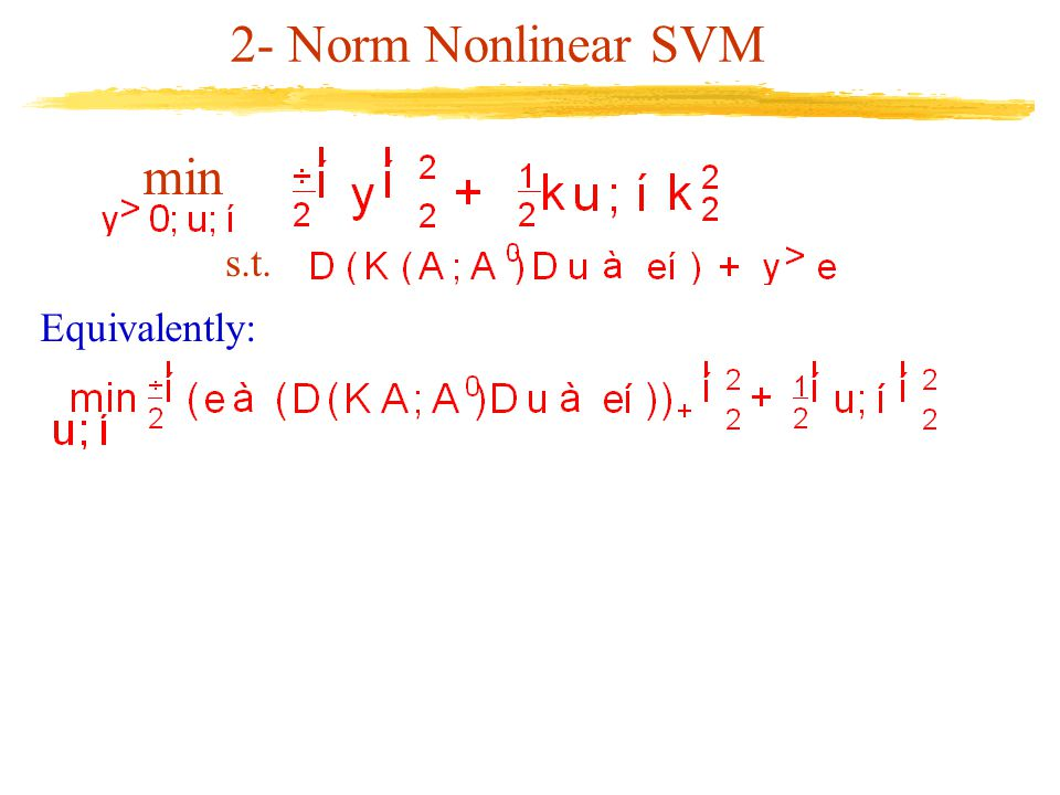 2- Norm Nonlinear SVM min s.t. Equivalently:
