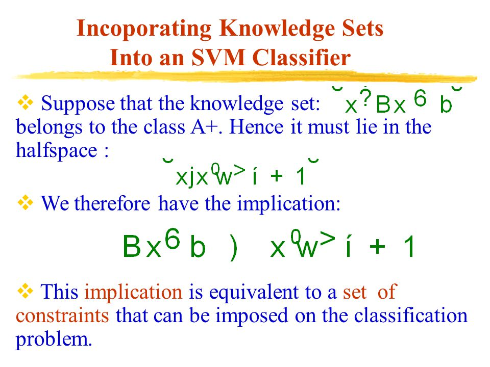 Incoporating Knowledge Sets Into an SVM Classifier  This implication is equivalent to a set of constraints that can be imposed on the classification