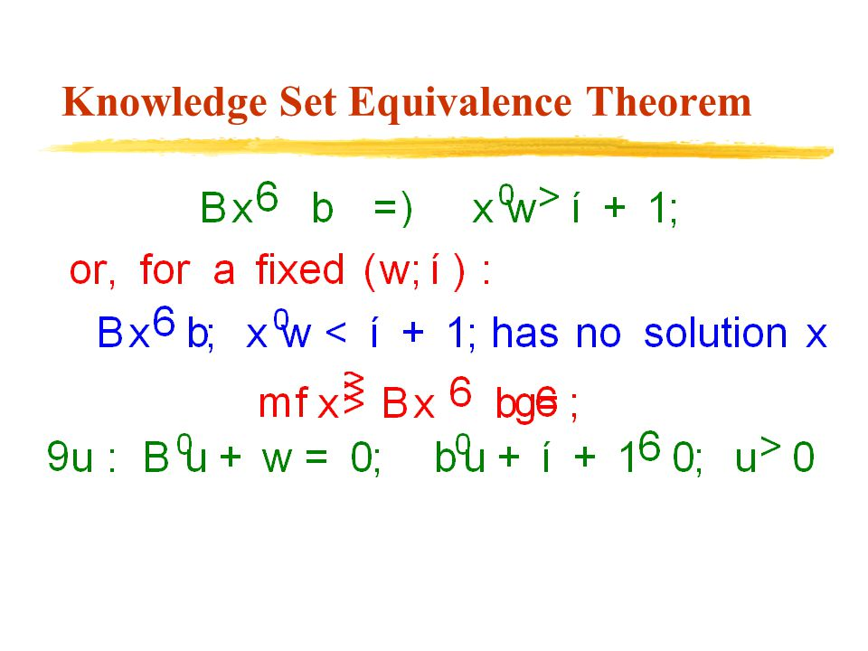 Knowledge Set Equivalence Theorem
