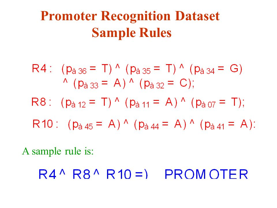 Promoter Recognition Dataset Sample Rules A sample rule is: