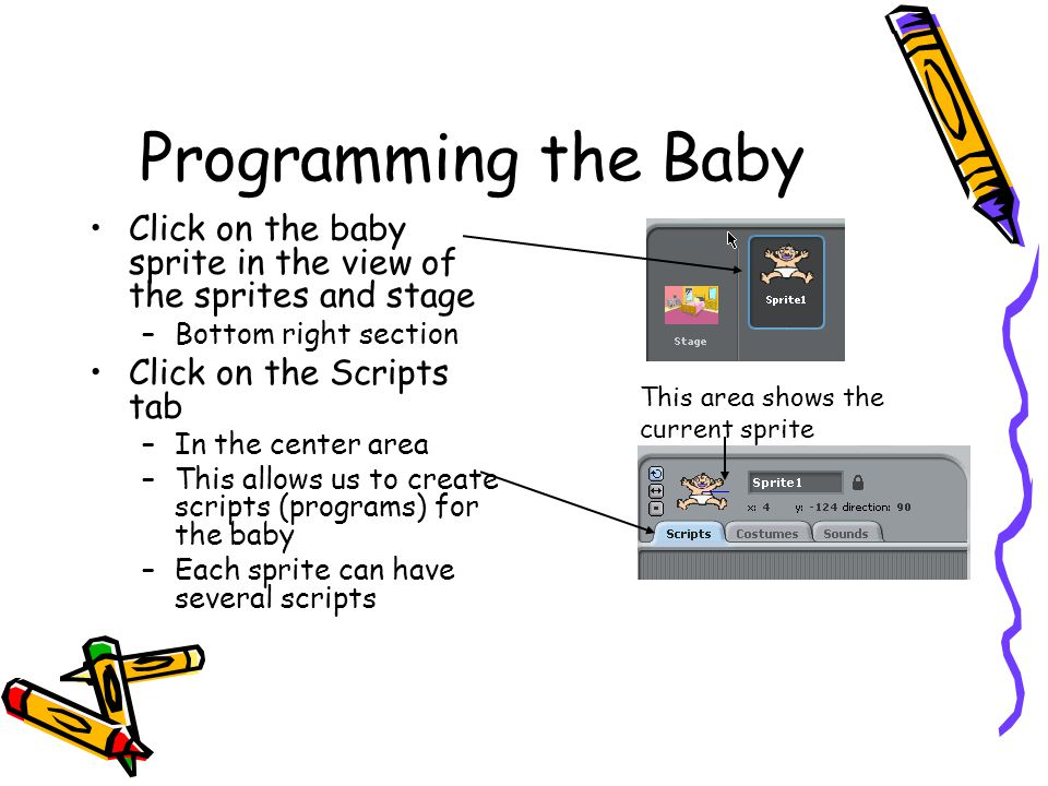 Programming the Baby Click on the baby sprite in the view of the sprites and stage –Bottom right section Click on the Scripts tab –In the center area –This allows us to create scripts (programs) for the baby –Each sprite can have several scripts This area shows the current sprite
