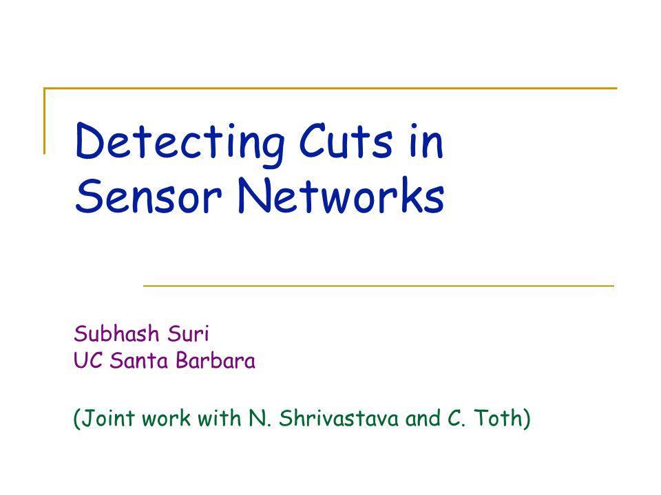 Detecting Cuts in Sensor Networks Subhash Suri UC Santa Barbara (Joint work with N. Shrivastava and C. Toth)