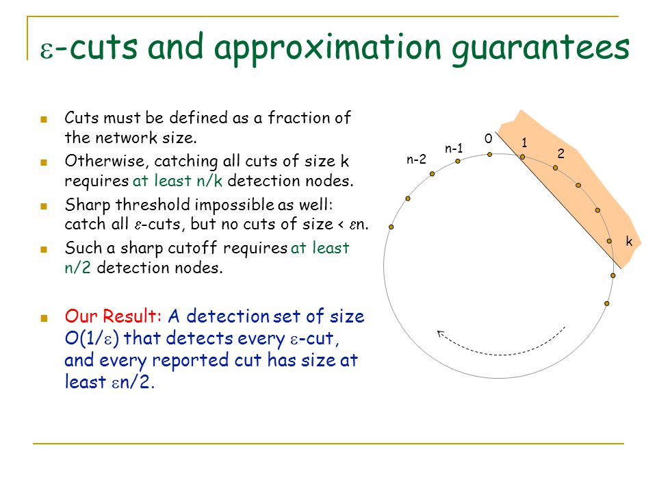  -cuts and approximation guarantees Cuts must be defined as a fraction of the network size.