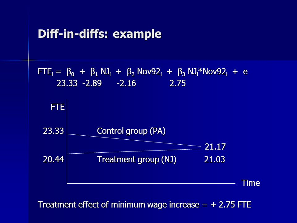 Diff-in-diff-in-diffs A difference-in-difference-in-differences (DDD) model allows us to study the effect of treatment on different groups If we are concerned that our estimated treatment effect might be spurious, a common robustness test is to introduce a comparison group that should not be affected by the treatment For example, if we want to know how welfare reform has affected labor force participation, we can use a DD model that takes advantage of policy variation across states, and then use a DDD model to study how the policy has affected single versus married women