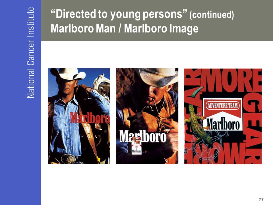27 Directed to young persons (continued) Marlboro Man / Marlboro Image