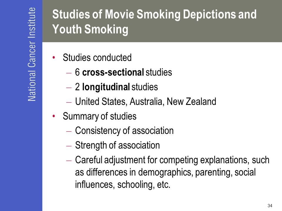 34 Studies of Movie Smoking Depictions and Youth Smoking Studies conducted – 6 cross-sectional studies – 2 longitudinal studies – United States, Australia, New Zealand Summary of studies – Consistency of association – Strength of association – Careful adjustment for competing explanations, such as differences in demographics, parenting, social influences, schooling, etc.