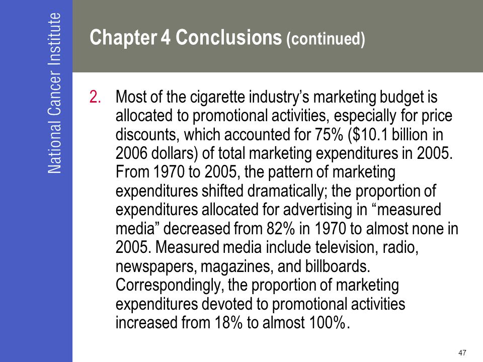 47 Chapter 4 Conclusions (continued) 2.Most of the cigarette industry's marketing budget is allocated to promotional activities, especially for price