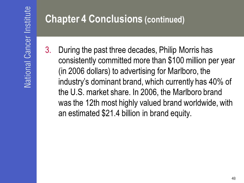 48 Chapter 4 Conclusions (continued) 3.During the past three decades, Philip Morris has consistently committed more than $100 million per year (in 2006 dollars) to advertising for Marlboro, the industry's dominant brand, which currently has 40% of the U.S.