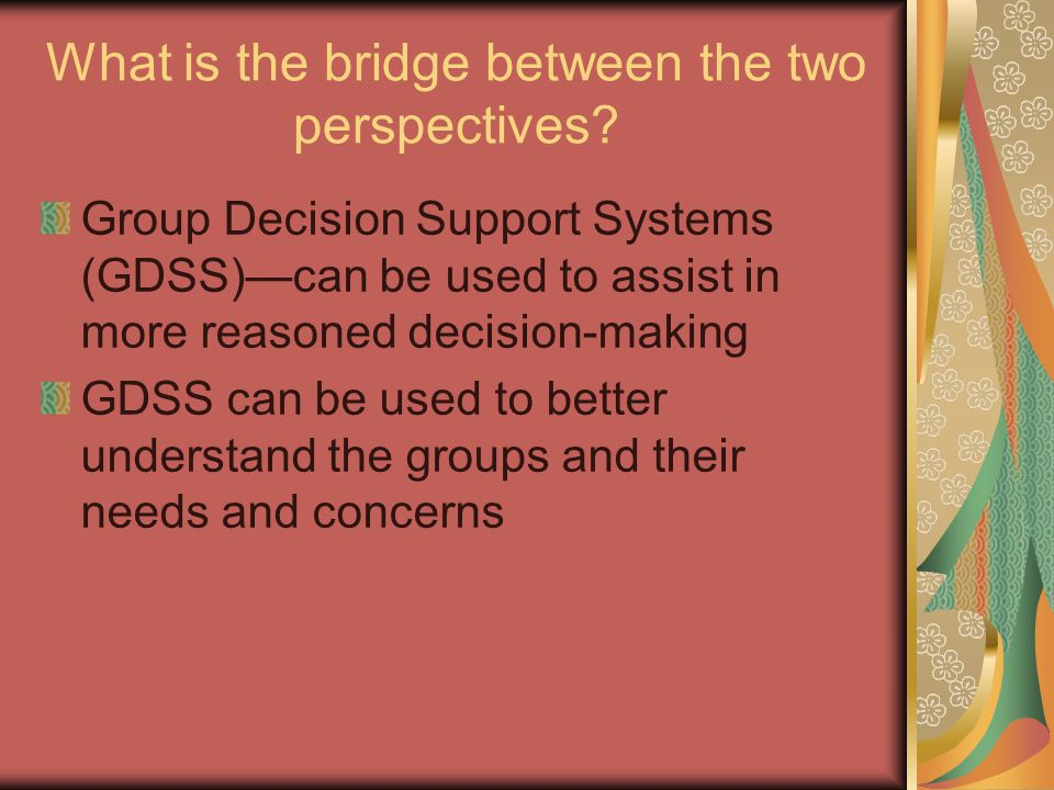 What is the bridge between the two perspectives.