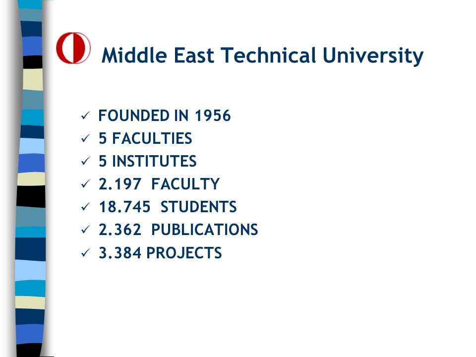 Middle East Technical University FOUNDED IN 1956 5 FACULTIES 5 INSTITUTES 2.197 FACULTY 18.745 STUDENTS 2.362 PUBLICATIONS 3.384 PROJECTS