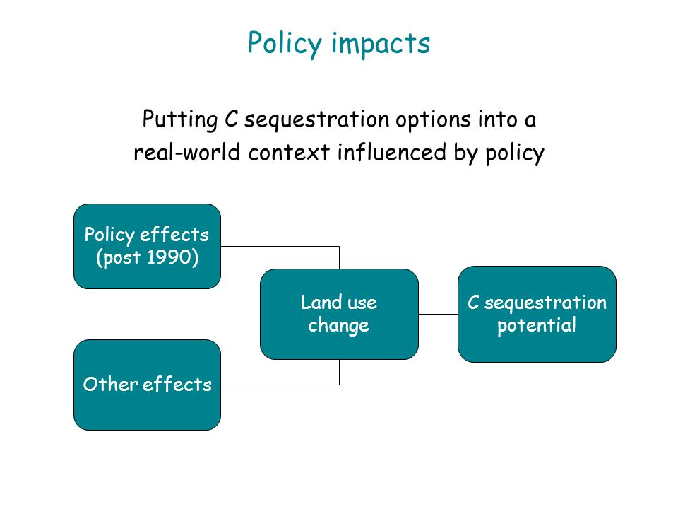 Policy impacts Putting C sequestration options into a real-world context influenced by policy Policy effects (post 1990) Other effects Land use change