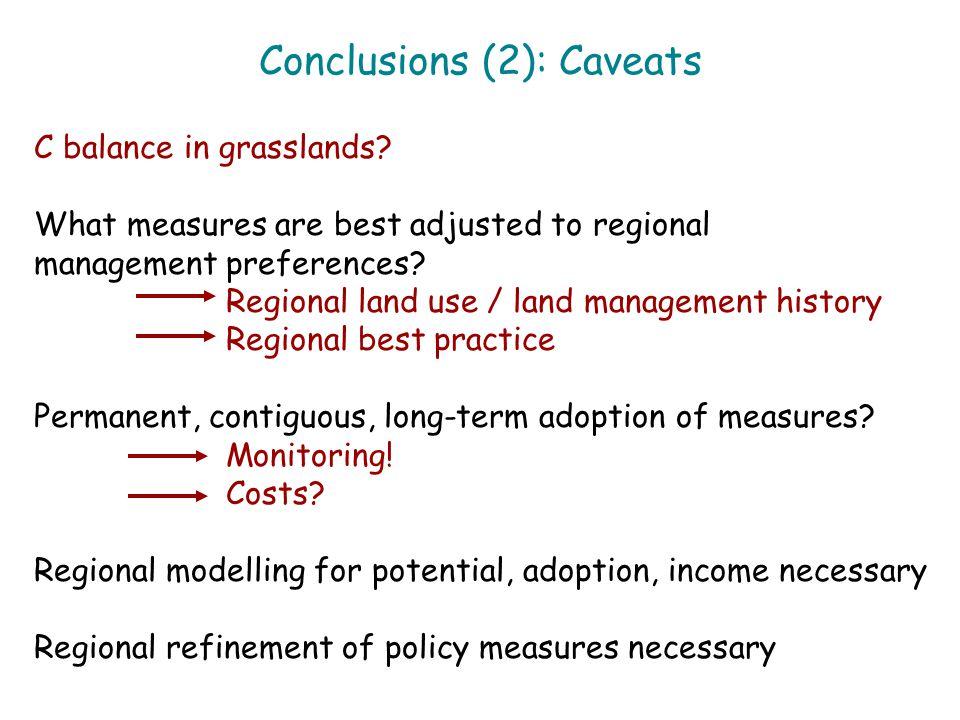 Conclusions (2): Caveats C balance in grasslands.