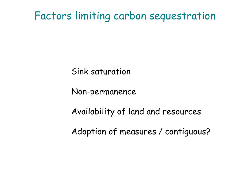 Factors limiting carbon sequestration Sink saturation Non-permanence Availability of land and resources Adoption of measures / contiguous?