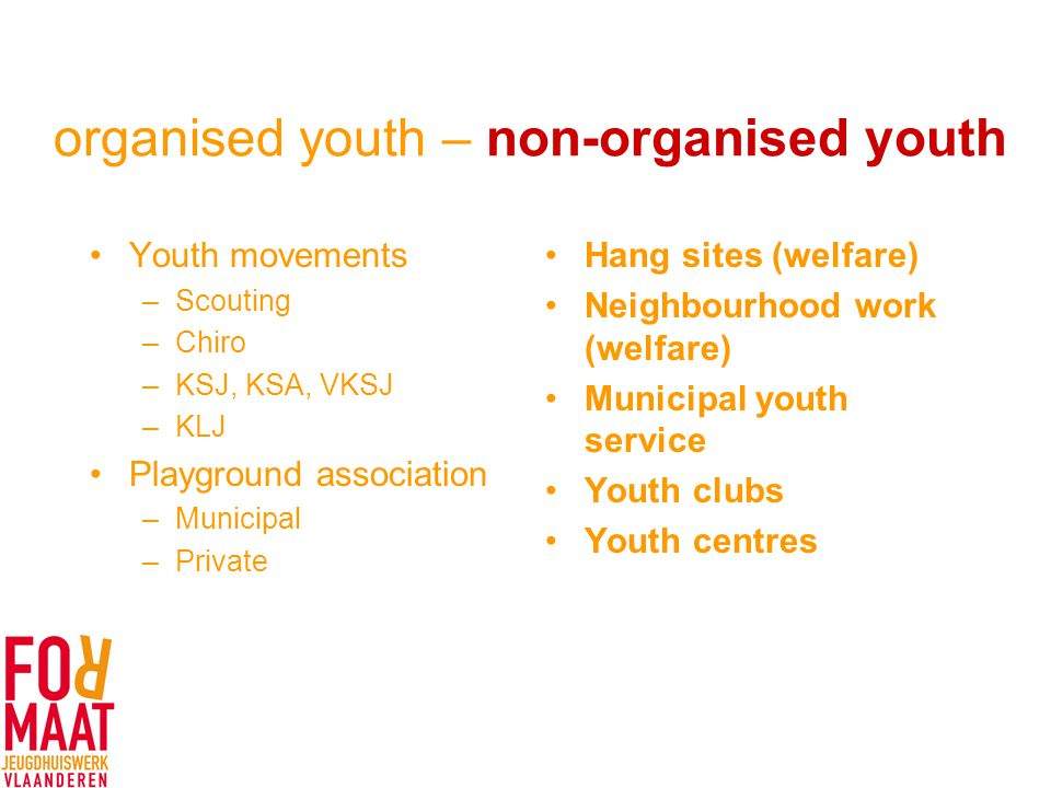 organised youth – non-organised youth Youth movements –Scouting –Chiro –KSJ, KSA, VKSJ –KLJ Playground association –Municipal –Private Hang sites (welfare) Neighbourhood work (welfare) Municipal youth service Youth clubs Youth centres
