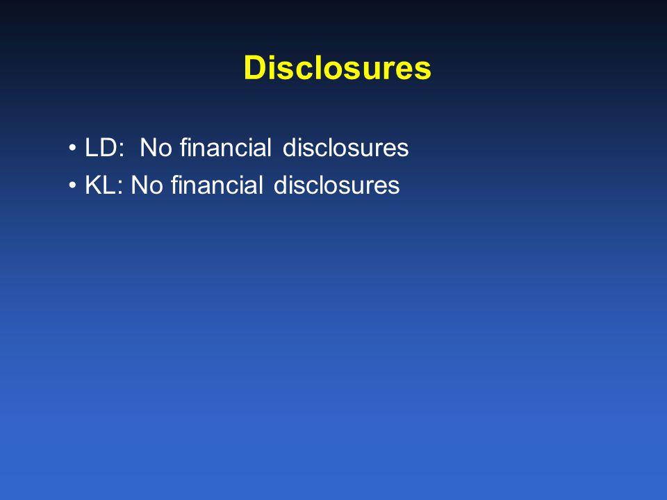 Disclosures LD: No financial disclosures KL: No financial disclosures