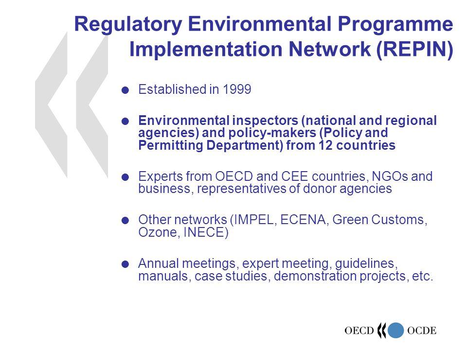 Regulatory Environmental Programme Implementation Network (REPIN)  Established in 1999  Environmental inspectors (national and regional agencies) an