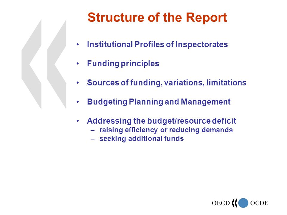 Structure of the Report Institutional Profiles of Inspectorates Funding principles Sources of funding, variations, limitations Budgeting Planning and Management Addressing the budget/resource deficit –raising efficiency or reducing demands –seeking additional funds
