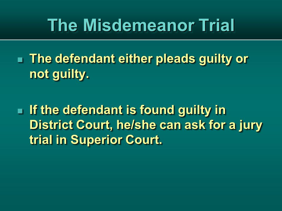 The defendant either pleads guilty or not guilty. The defendant either pleads guilty or not guilty.