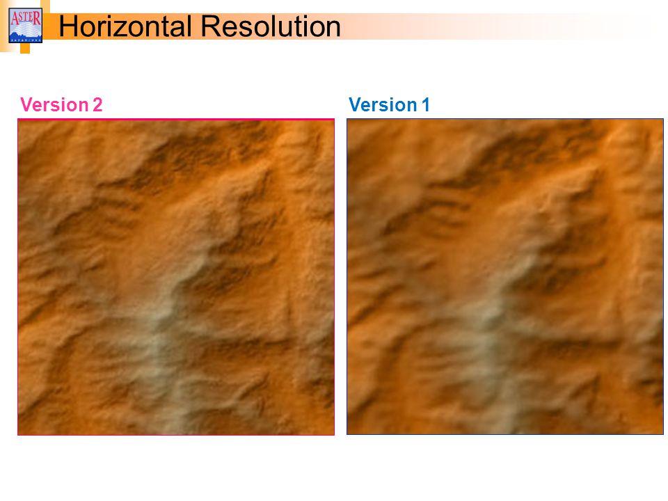 Horizontal Resolution Version 1 Version 2