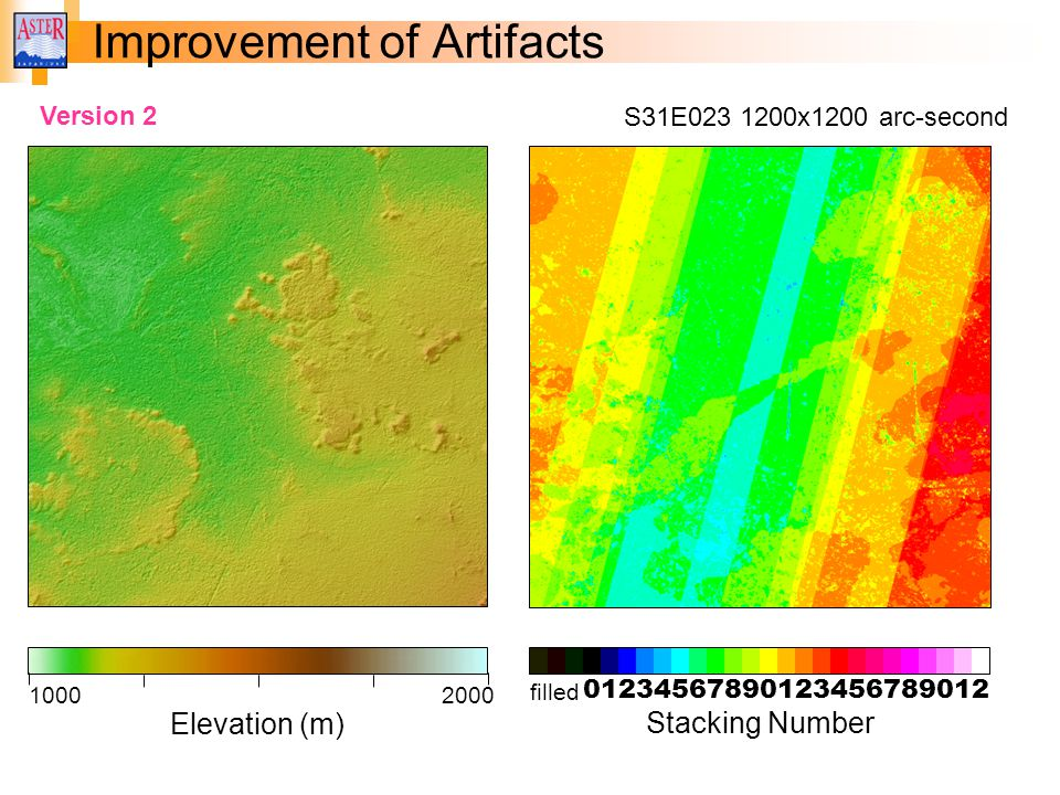 Improvement of Artifacts 01234567890123456789012 filled Stacking Number Elevation (m) 10002000 S31E023 1200x1200 arc-second Version 2