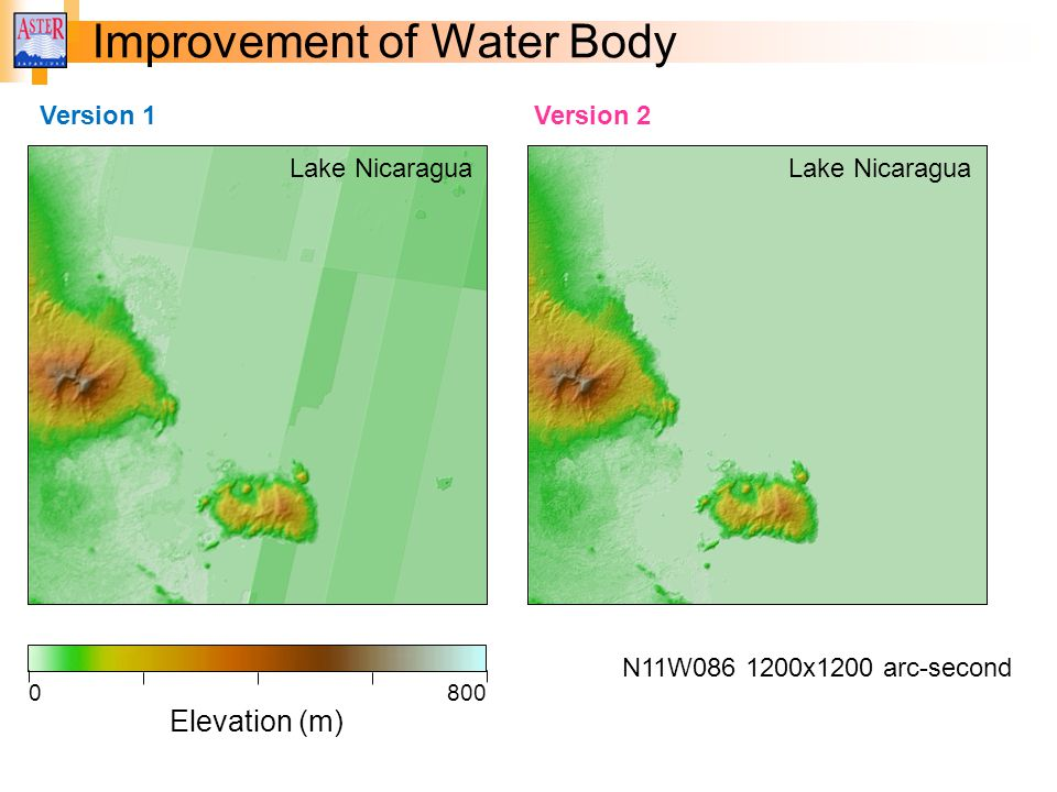 Improvement of Water Body Elevation (m) 0800 N11W086 1200x1200 arc-second Version 1 Lake Nicaragua Version 2 Lake Nicaragua