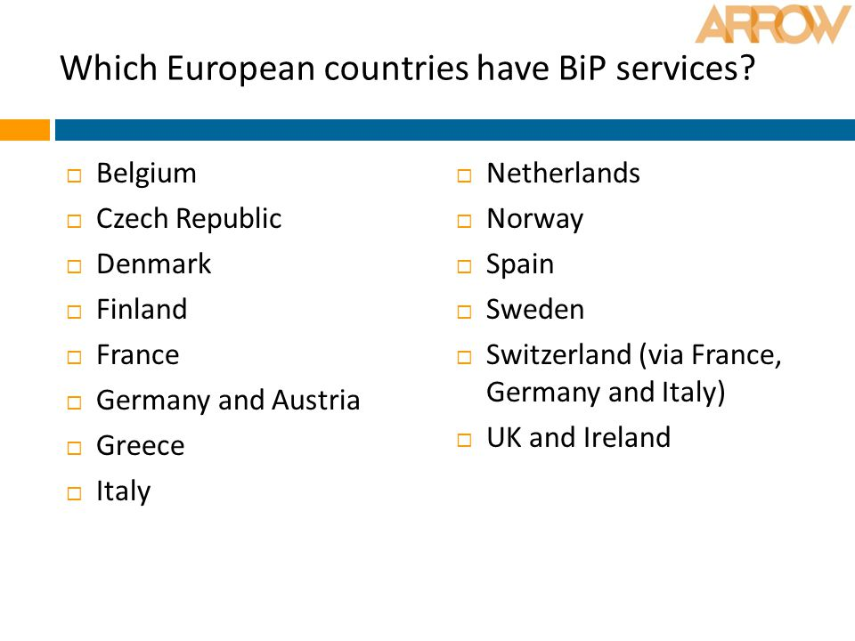 Which European countries have BiP services?  Belgium  Czech Republic  Denmark  Finland  France  Germany and Austria  Greece  Italy  Netherlan