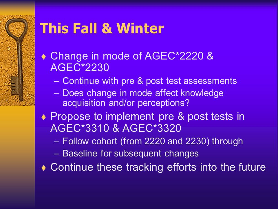 This Fall & Winter  Change in mode of AGEC*2220 & AGEC*2230 –Continue with pre & post test assessments –Does change in mode affect knowledge acquisition and/or perceptions.