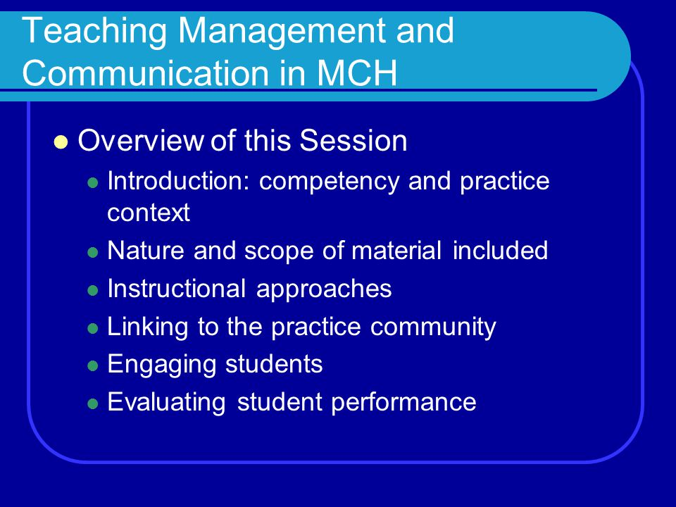 Teaching Competency in Management and Communication Mini-case study