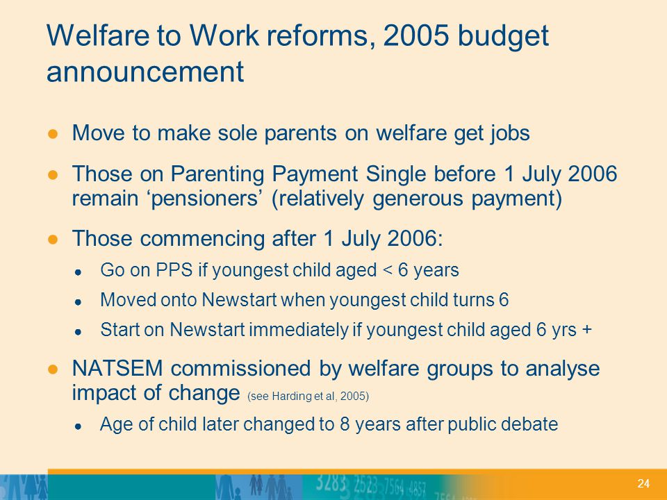 24 Welfare to Work reforms, 2005 budget announcement ●Move to make sole parents on welfare get jobs ●Those on Parenting Payment Single before 1 July 2006 remain 'pensioners' (relatively generous payment) ●Those commencing after 1 July 2006: ● Go on PPS if youngest child aged < 6 years ● Moved onto Newstart when youngest child turns 6 ● Start on Newstart immediately if youngest child aged 6 yrs + ●NATSEM commissioned by welfare groups to analyse impact of change (see Harding et al, 2005) ● Age of child later changed to 8 years after public debate