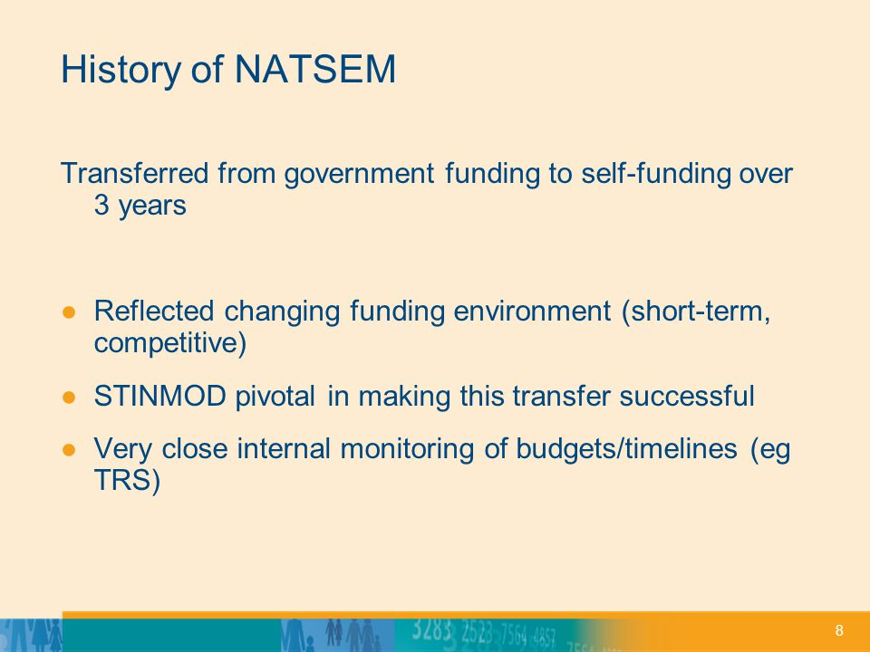 8 History of NATSEM Transferred from government funding to self-funding over 3 years ●Reflected changing funding environment (short-term, competitive) ●STINMOD pivotal in making this transfer successful ●Very close internal monitoring of budgets/timelines (eg TRS)