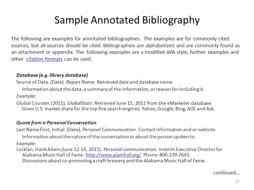 Sample Annotated Bibliography Database (e.g. library database) Source of Data.