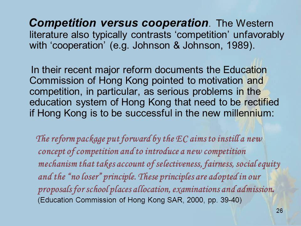 26 Competition versus cooperation.