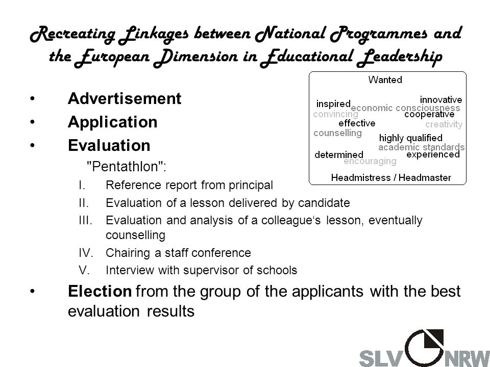 Recreating Linkages between National Programmes and the European Dimension in Educational Leadership Advertisement Application Evaluation