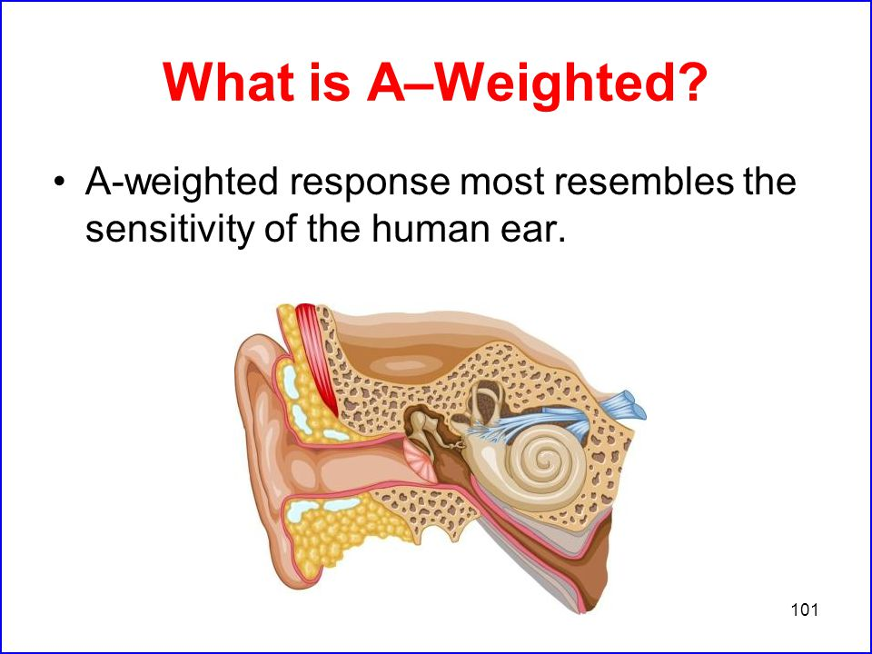 101 What is A–Weighted A-weighted response most resembles the sensitivity of the human ear.