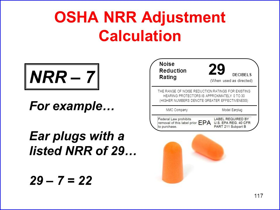 117 OSHA NRR Adjustment Calculation For example… Ear plugs with a listed NRR of 29… 29 – 7 = 22 Noise Reduction Rating 29 DECIBELS (When used as directed) THE RANGE OF NOISE REDUCTION RATINGS FOR EXISTING HEARING PROTECTORS IS APPROXIMATELY 0 TO 30 (HIGHER NUMBERS DENOTE GREATER EFFECTIVENESS) NMC CompanyModel Earplug NRR – 7